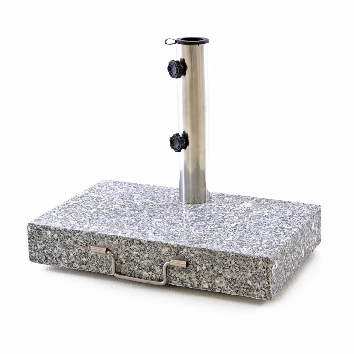 Sonnenschirmständer 25 kg Granit grau halb eckig 45 x 28 cm Balkonständer