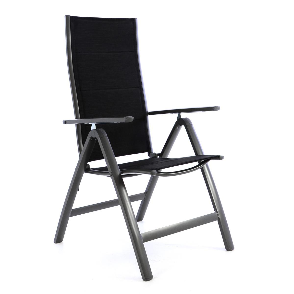 Deluxe Alu Klappstuhl gepolstert Textilene schwarz Rahmen dunkelgrau Gartenstuhl