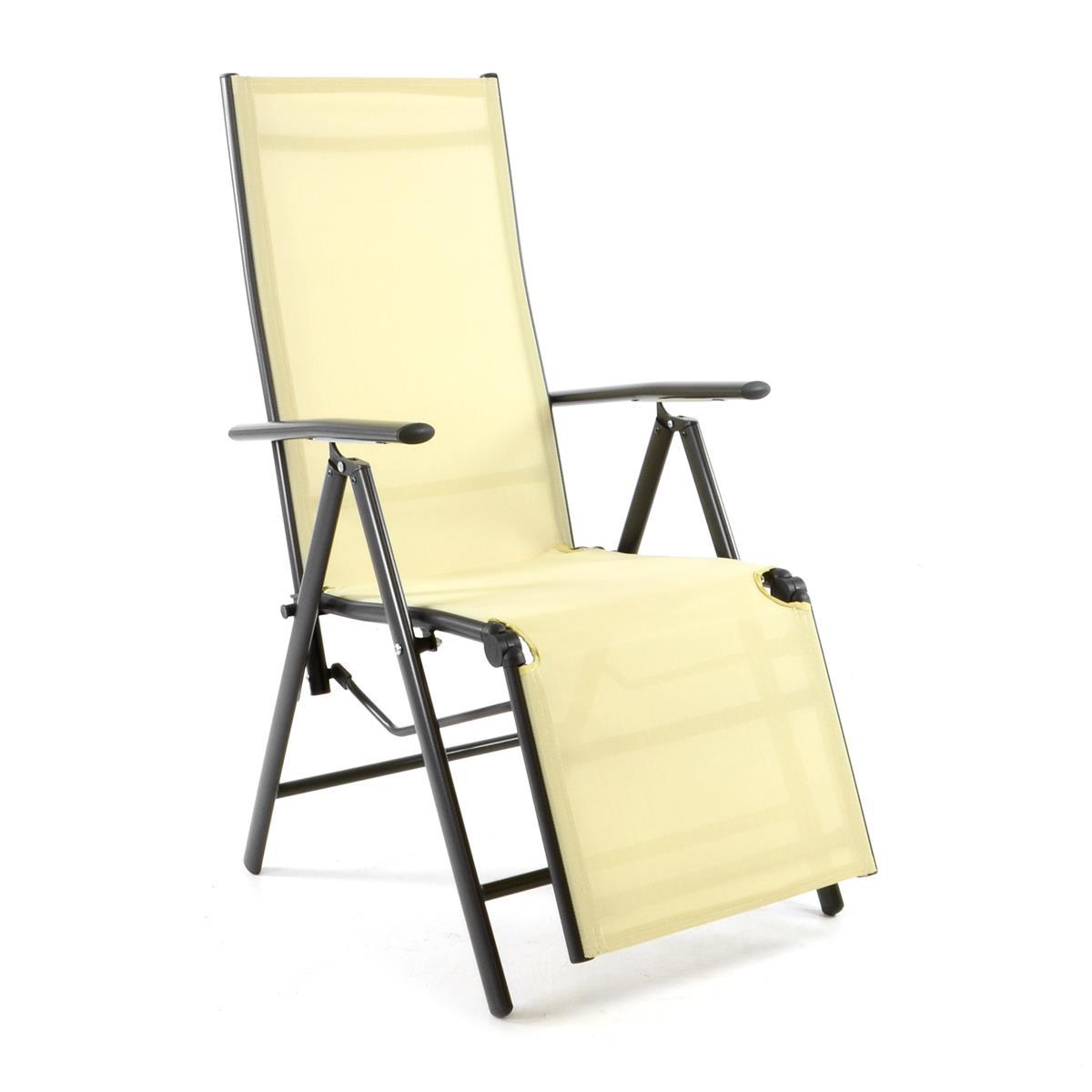 Alu Liegestuhl Klappstuhl Relaxstuhl Textilene creme Fußstütze Rahmen anthrazit