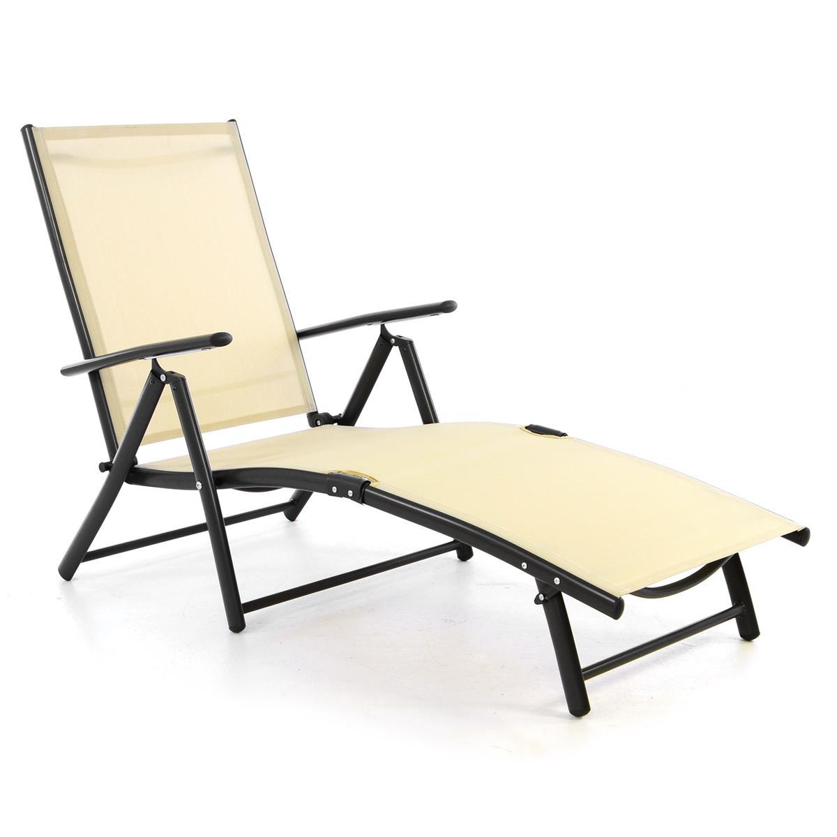 Gartenliege Sonnenliege Klappliege Strandliege Textilene creme Rahmen anthrazit