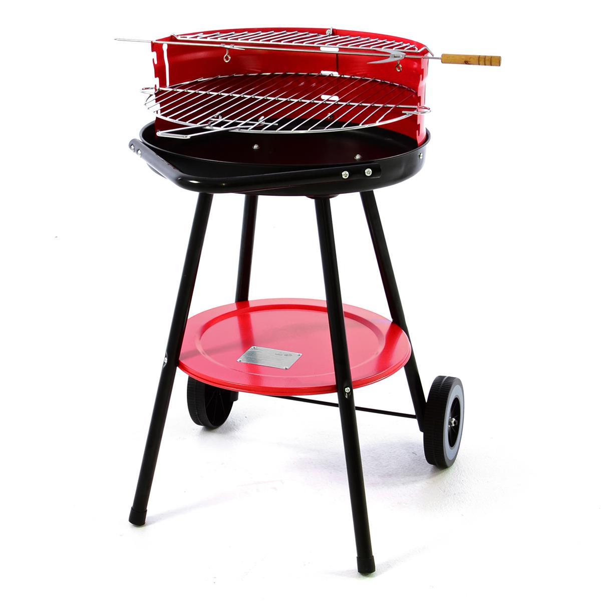 Rundgrill mit Ablage BBQ Grill Holzkohlegrill rot 70x40 cm Rost verstellbar