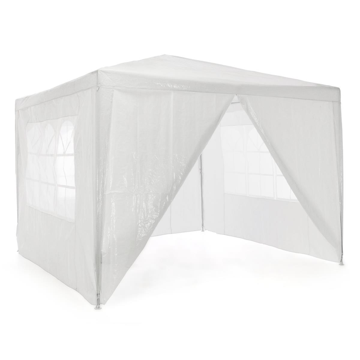 Pavillon 3x3 m in weiß PE Plane 4 Seitenteile Partyzelt Gartenzelt Sonnenschutz