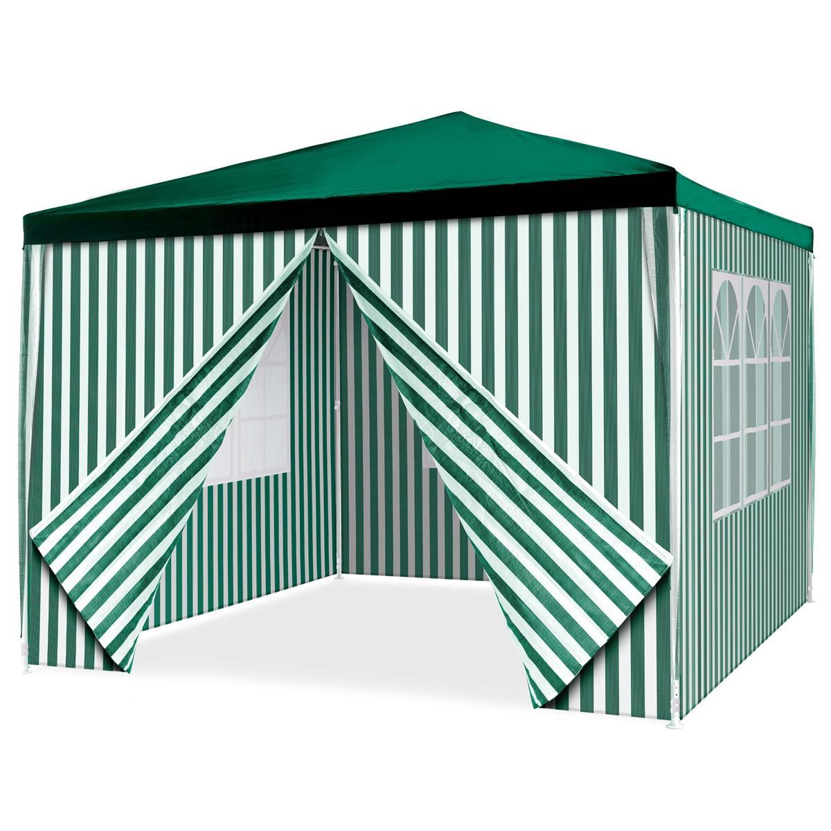 Pavillon Partyzelt 3x3m grün weiß wasserdicht 4 Seitenteile Gartenzelt Eventzelt