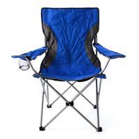 Campingstuhl Faltstuhl blau grau mit Armlehne Getränkehalter Angelstuhl