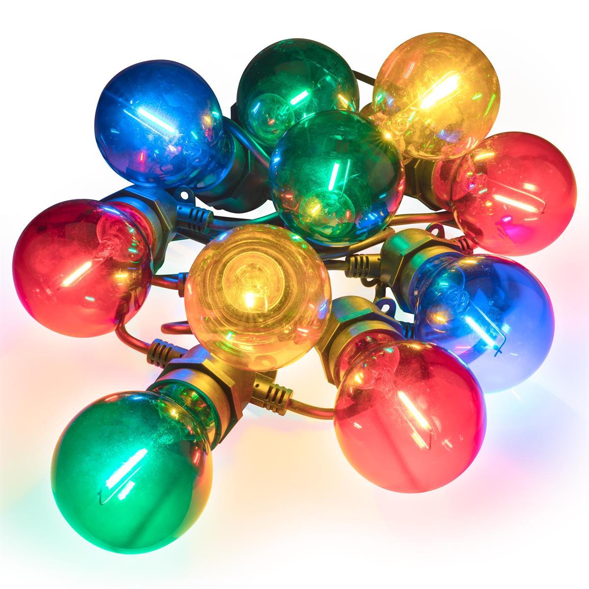 LED Partylichterkette mit 10 Glaskugeln bunt Partybeleuchtung Lichterkette Xmas