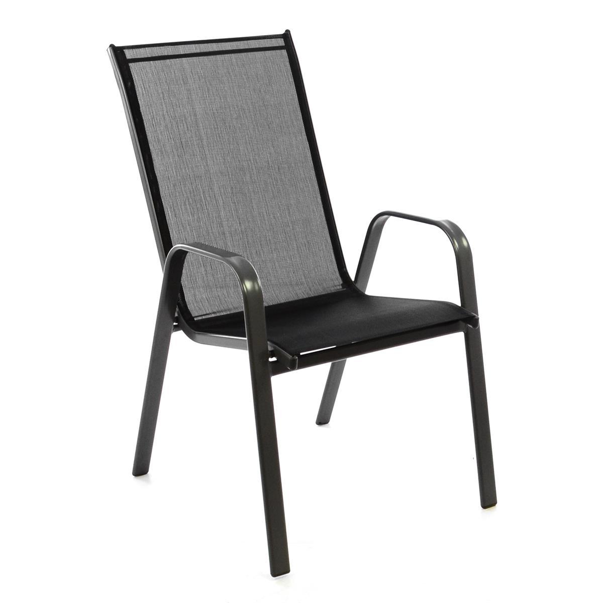 Gartenstuhl Stapelstuhl Stapelsessel Rahmen dunkelgrau Textilene schwarz Stahl