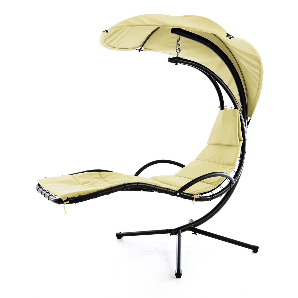 Luxus Schwebeliege beige Schwingliege Hängeliege Relax-Sonnenliege Sonnenschutz