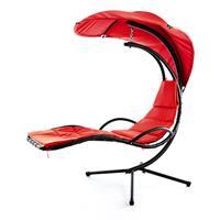 Luxus Schwebeliege rot Schwingliege Hängeliege Relax-Sonnenliege + Sonnenschutz