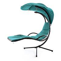 Luxus Schwebeliege blau Schwingliege Hängeliege Relax-Sonnenliege + Sonnenschutz