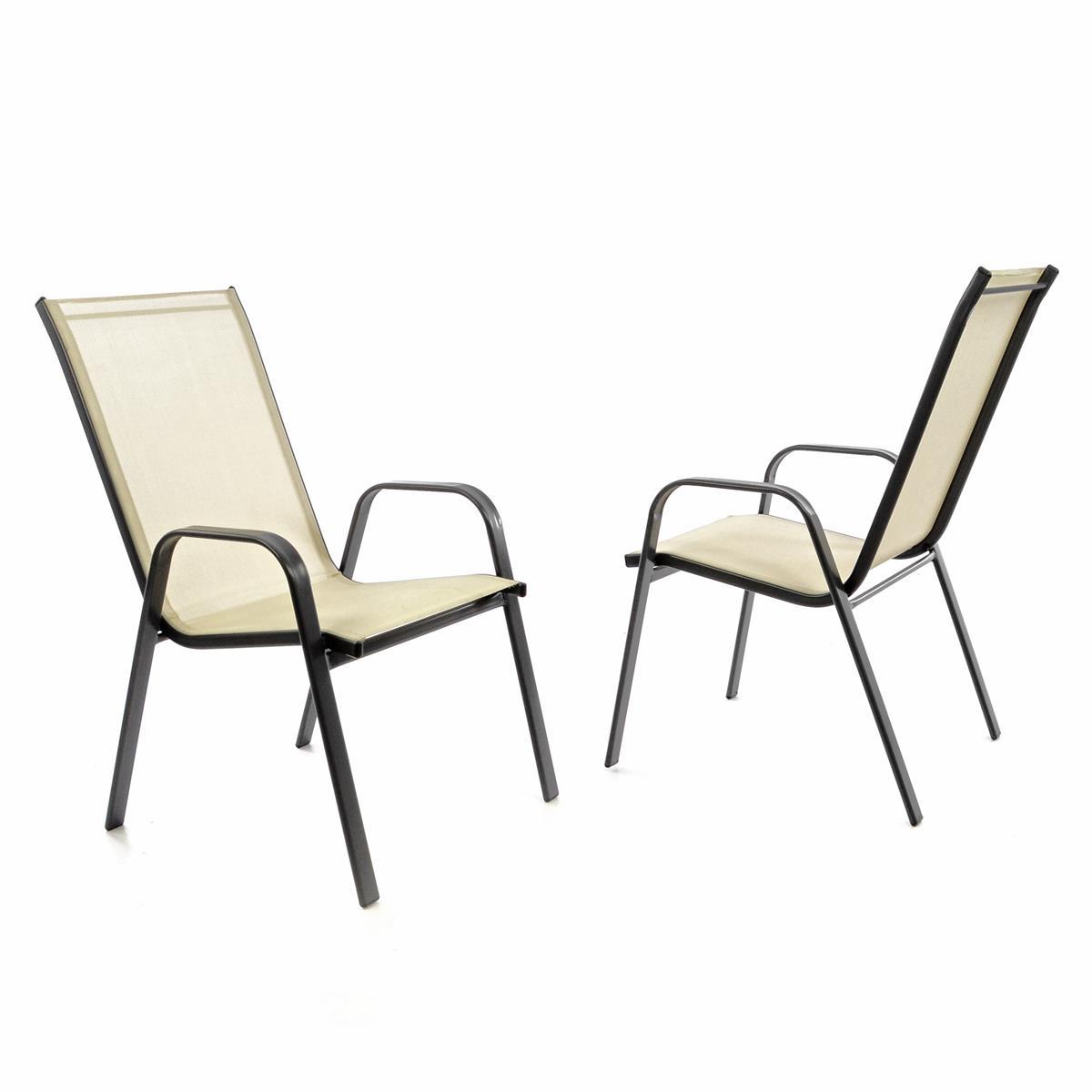 2er Set Gartenstuhl Stapelstuhl Stapelsessel Rahmen dunkelgrau Textilene creme