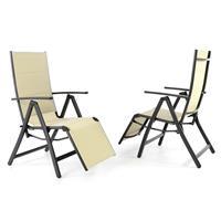 2er Set DELUXE Alu Liegestuhl gepolstert creme Klappstuhl schwarzer Rahmen