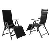 2er Set DELUXE Alu Liegestuhl  gepolstert Textilene schwarz Rahmen anthrazit