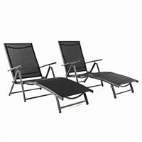 2er Set Nexos Gartenliege Sonnenliege Liegestuhl Bezug schwarz Rahmen anthrazit