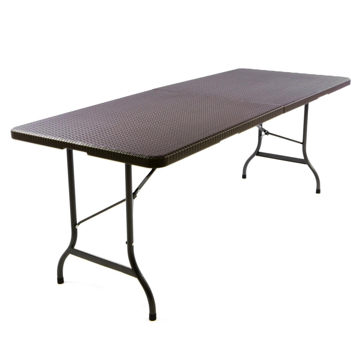 Klapptisch Partytisch Gartentisch Rattan-Optik 180 x 75 cm braun Tragegriff