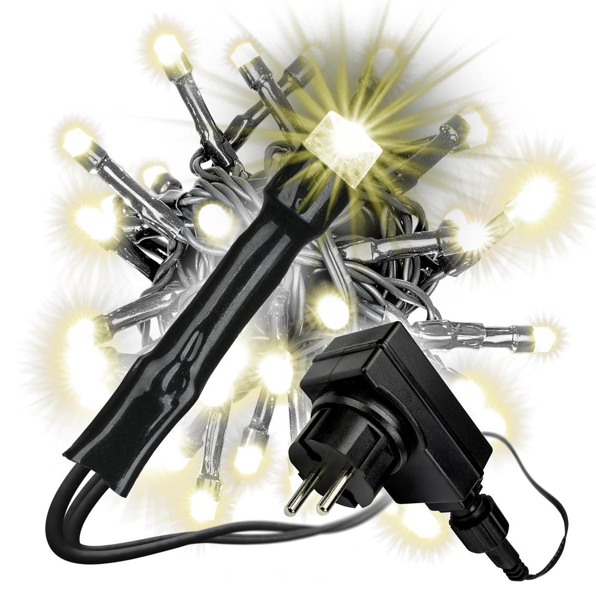 80 LED Lichterkette warmweiß Trafo schwarzes Kabel innen außen Weihnachten Xmas