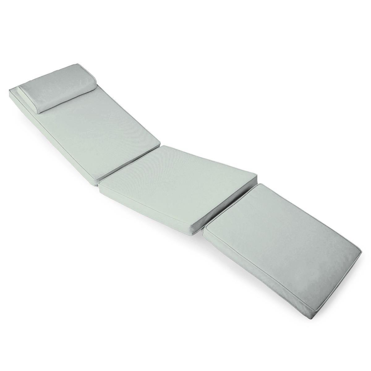 DIVERO Liegenauflage für Deckchair Steamer Liegestuhl-Auflage Polster hellgrau