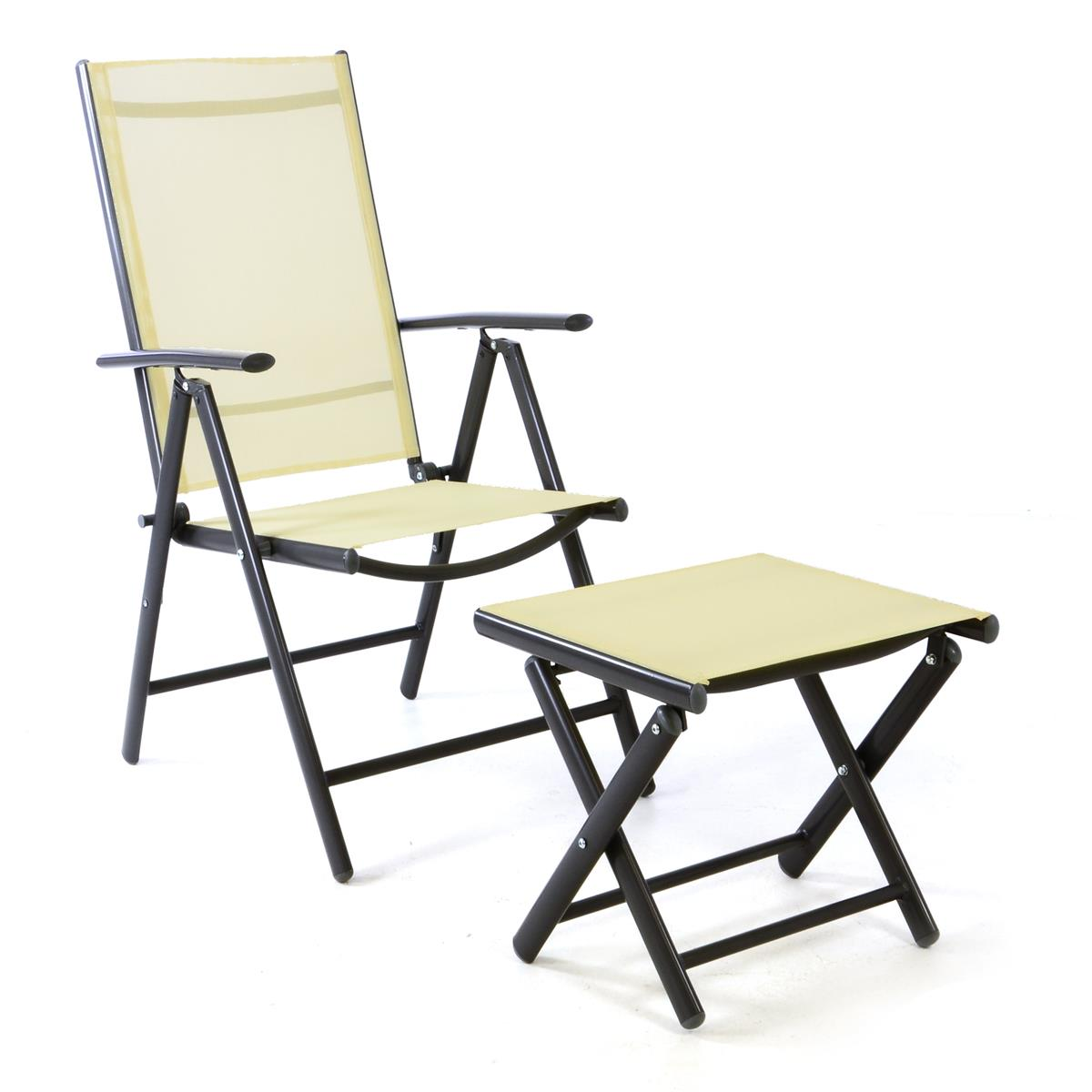 Set Klappstuhl + Hocker Textiline creme Rahmen anthrazit Gartenstuhl Alu Camping