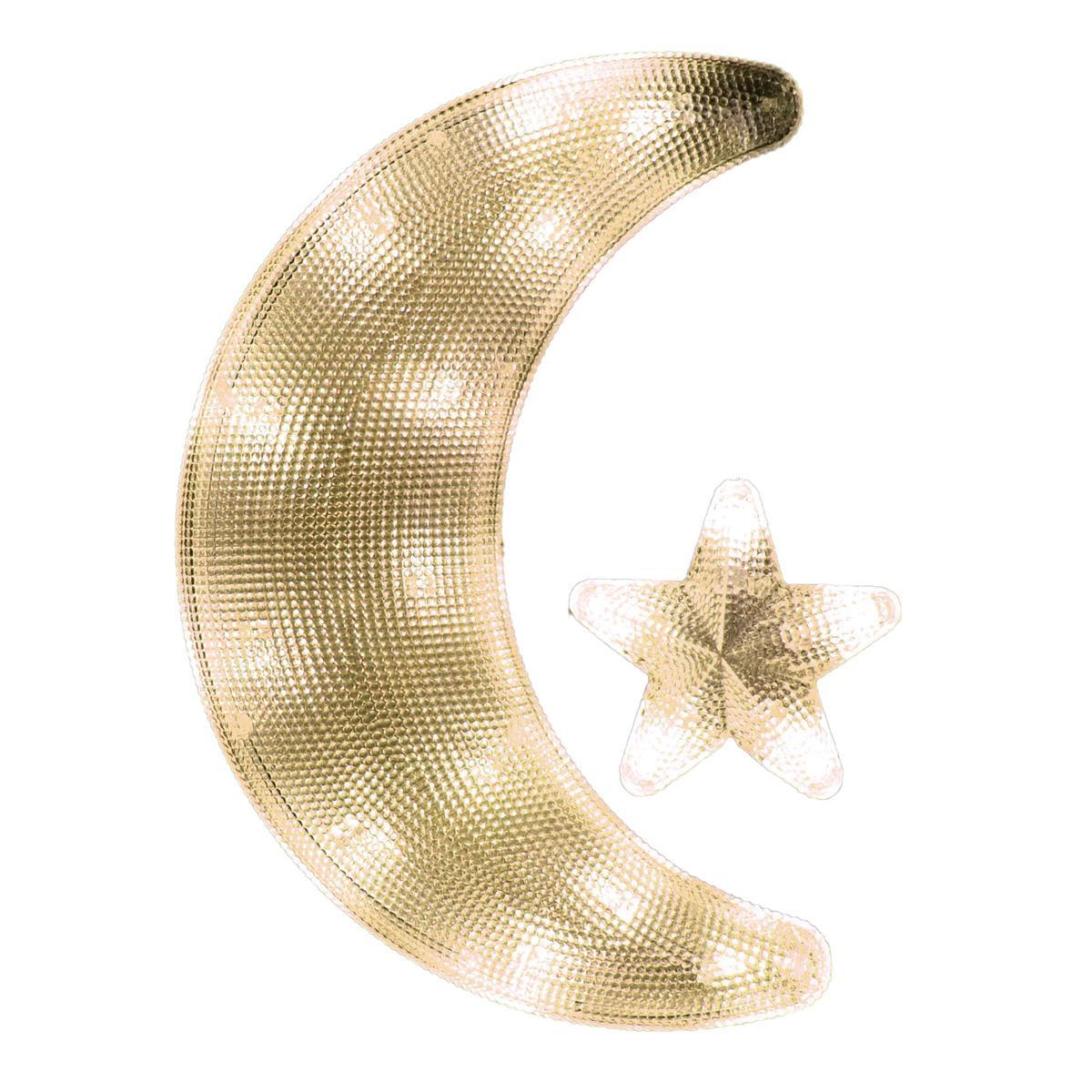 Fensterbild Mond mit Stern 18 LED warm weiß Weihnachten Weihnachtsdeko Batterie