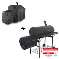 Smoker BBQ Grill Holzkohlegrill 95cm Rost 160x124x70 cm XXL 57kg mit Schutzhülle