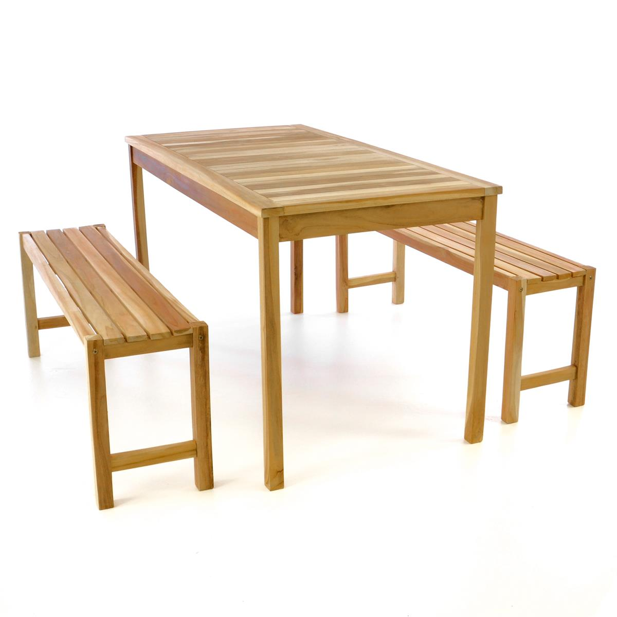 DIVERO Gartenmöbelset Picknickset Sitzgruppe natur Teakholz Bank Tisch 135cm