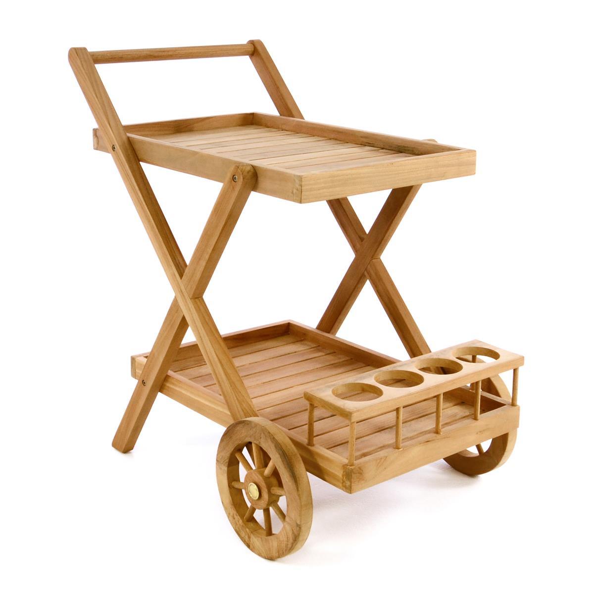 DIVERO Servierwagen Teewagen Rollwagen Küchenwagen Teakholz behandelt