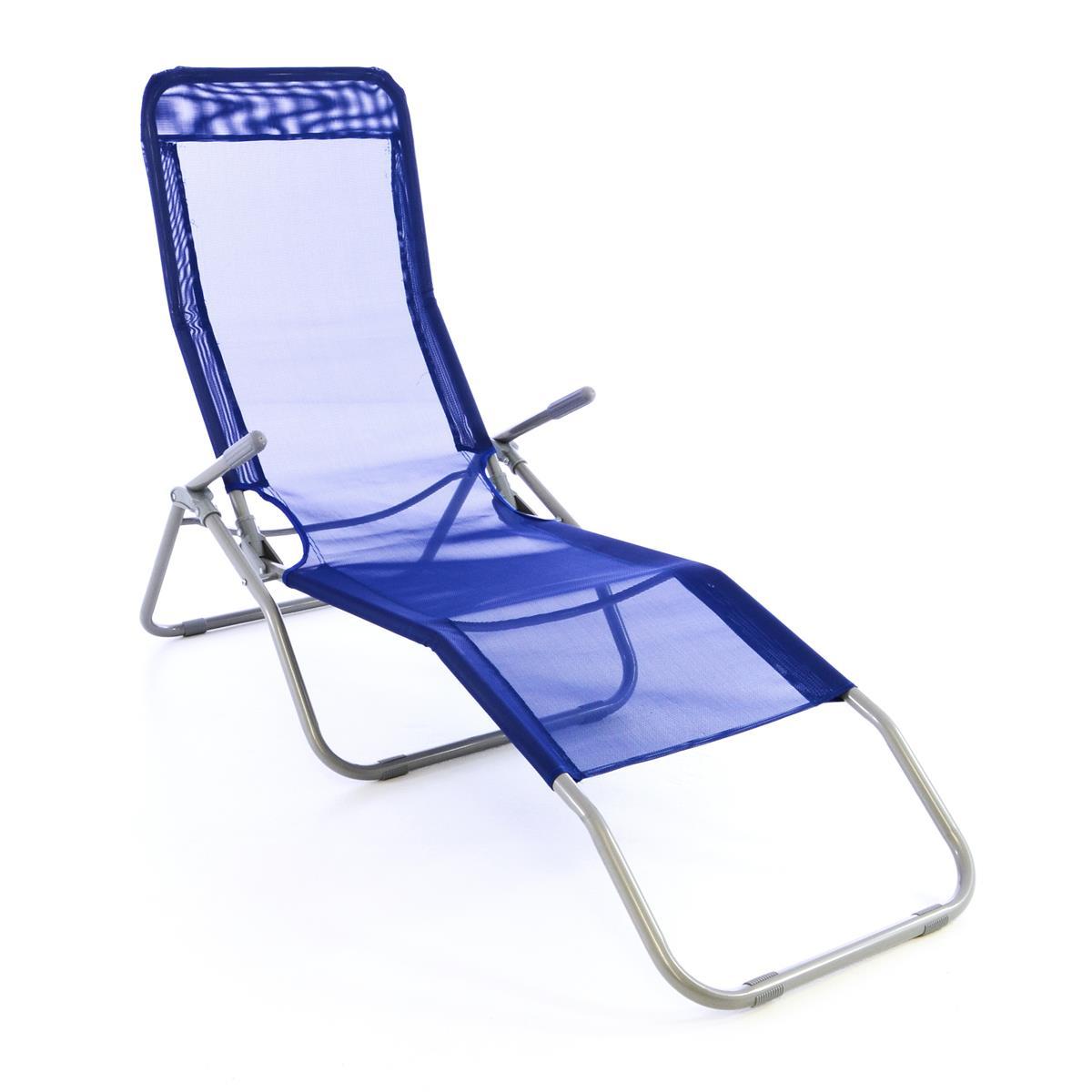 Gartenliege Bäderliege 160 cm Textilene blau Armlehne Stahl Relaxliege klappbar