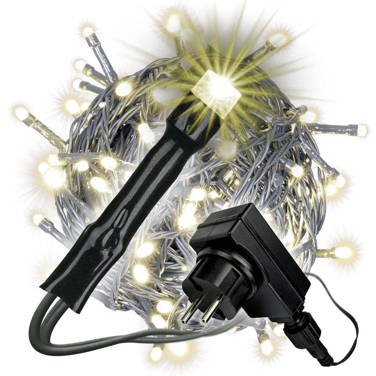 200 LED Lichterkette warm-weiß mit Trafo Timer 6 Funktionen grünes Kabel Xmas