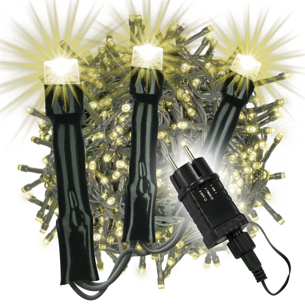 1000 LED Büschellichterkette Cluster warm weiß Trafo Timer Lichterkette Xmas