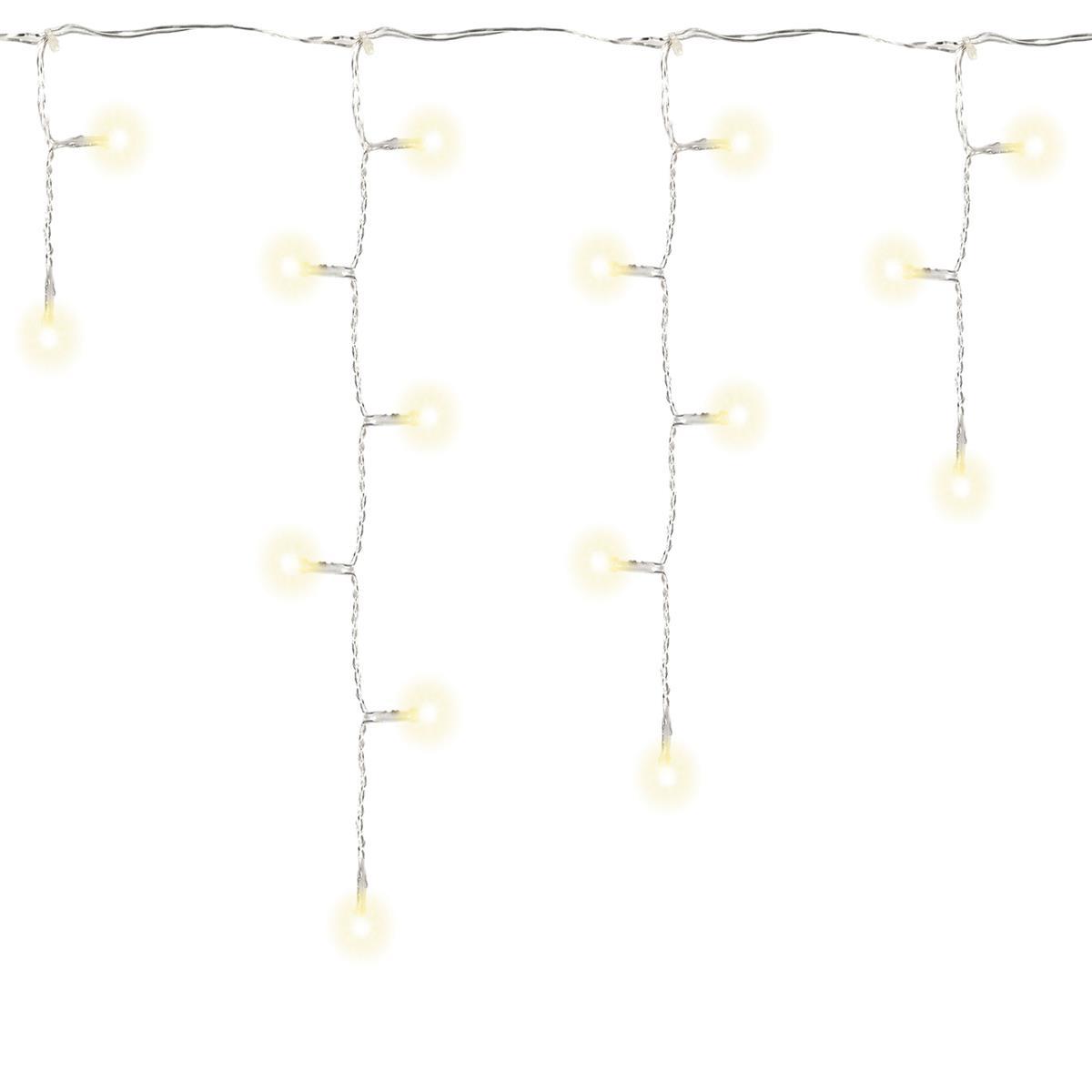 144 LED Eisregen Eiszapfen Lichterkette warm weiß Timer Batterie Weihnachtsdeko