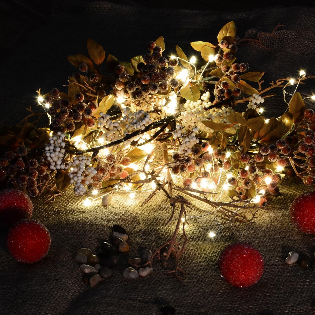 Weihnachtsdeko Innenbereich.100 Led Büschellichterkette Warm Weiß Cluster Silberdraht Trafo