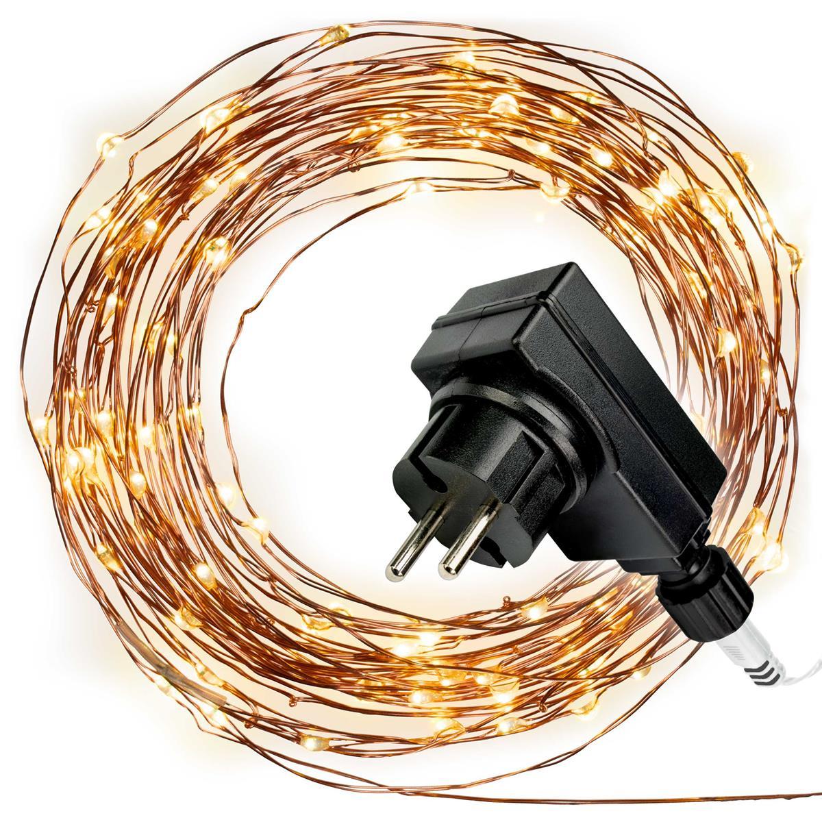 50er Mini LED Lichterkette warmweiß Trafo Timer Weihnachtsdekoration Xmas-Deko