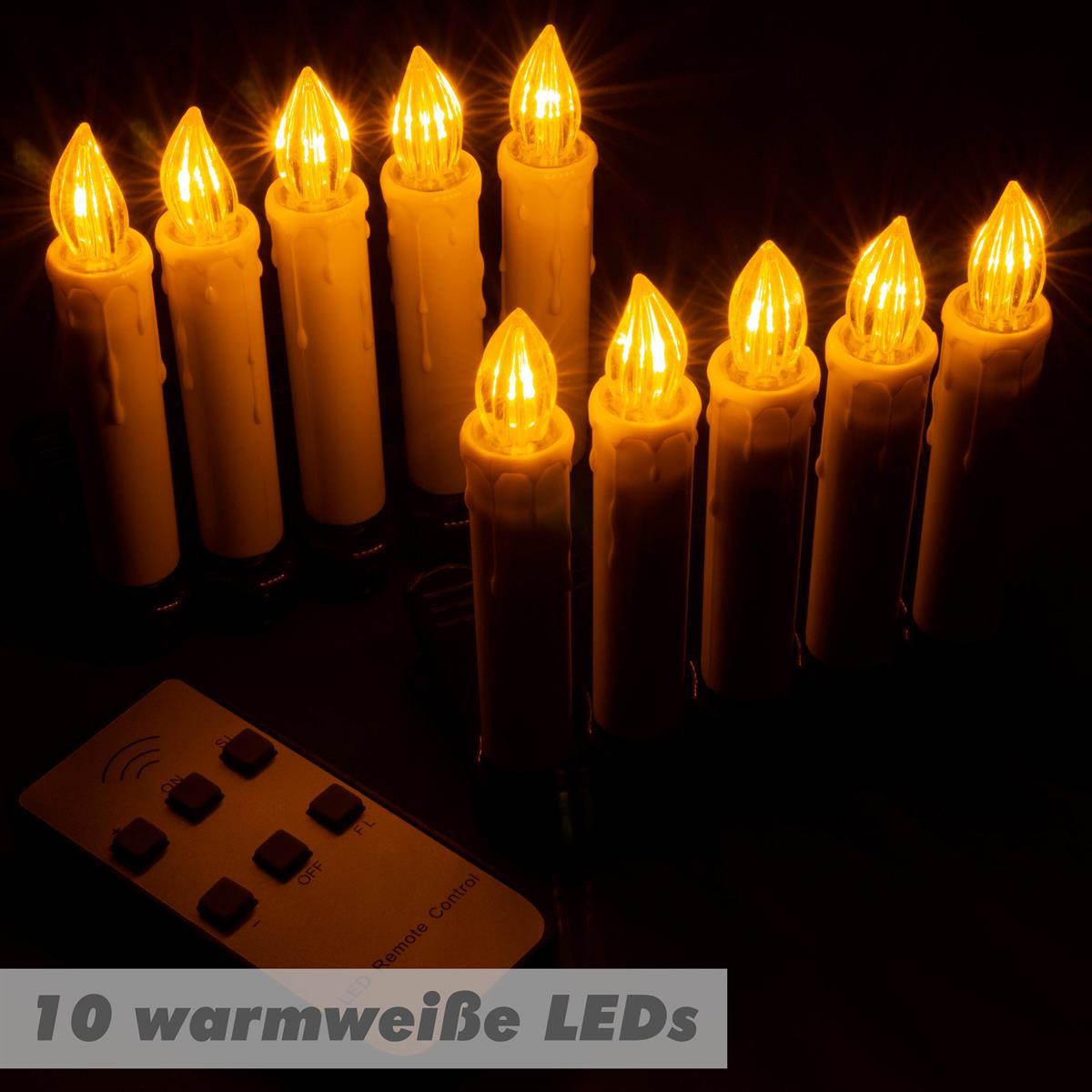 Kabellose Weihnachtsbeleuchtung Innen.Baumbeleuchtung Kabellose Christbaumkerzen 10 Led Warmweiß