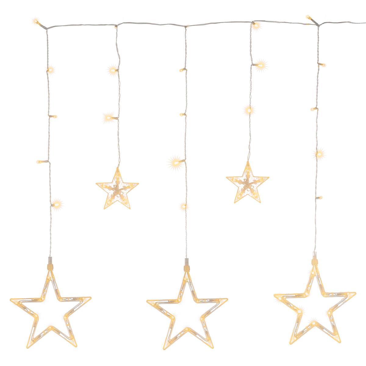 Sternenvorhang 61 LED warm weiß Lichterkette Lichtervorhang Timer Batterie