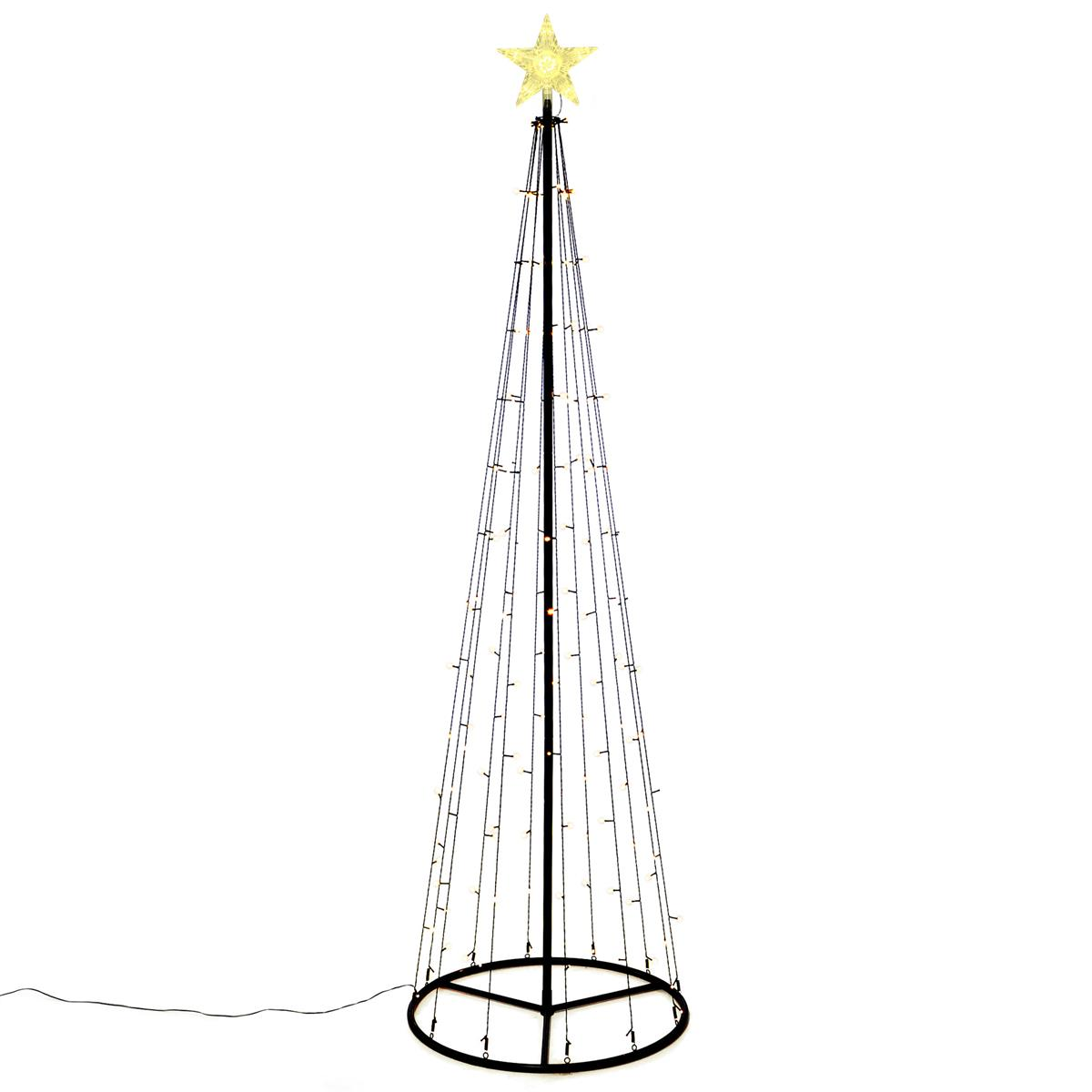 Lichtpyramide 140 LED warmweiß 240cm Baum mit Stern Trafo Timer Außen Xmas