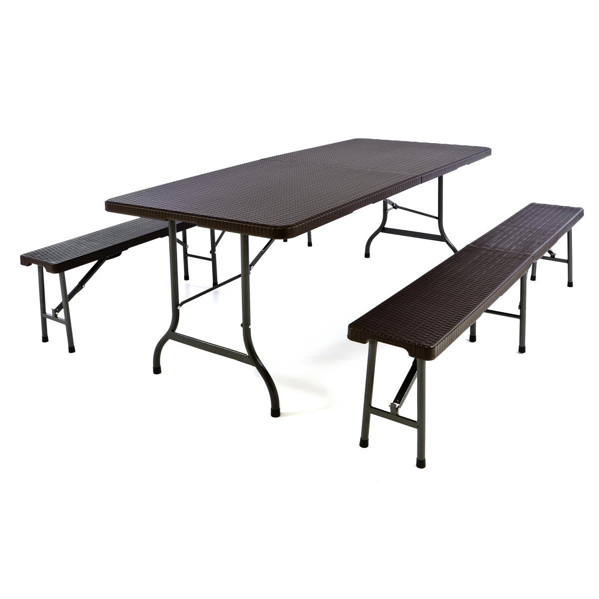 Gartengarnitur 1 Tisch 2 Bänke klappbar Rattanoptik Bierzeltgarnitur 180cm braun