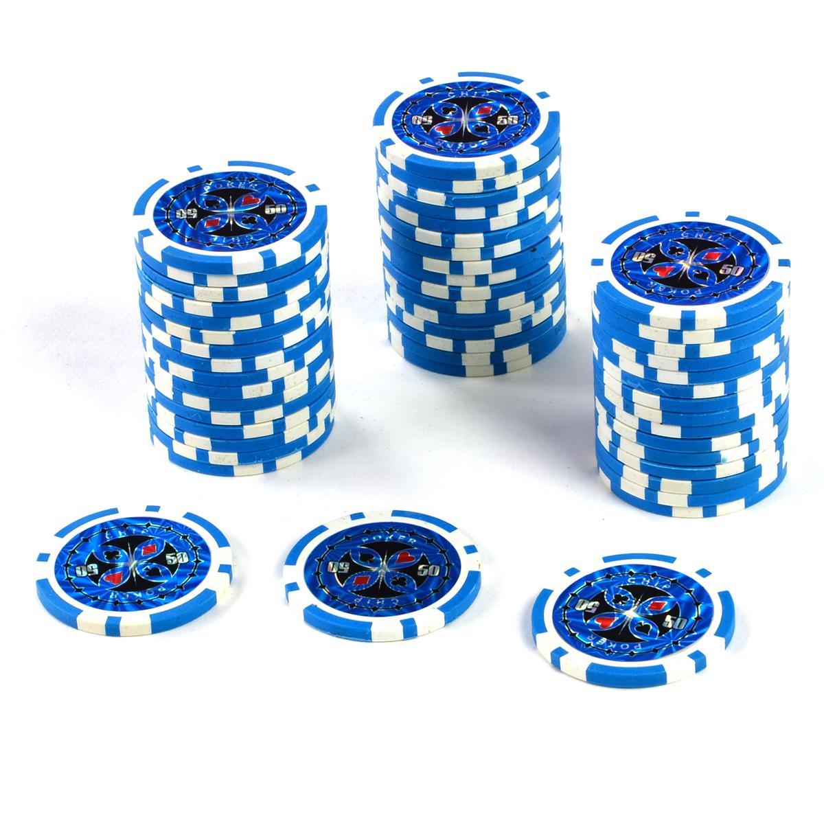 50 Poker-Chips Wert 50 Laserchip 12g Metallkern ergänzend zum Pokerkoffer