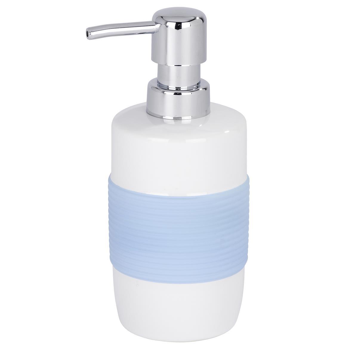 Wenko Seifenspender Bahia Keramik weiß blau Edelstahlpumpe nachfüllbar