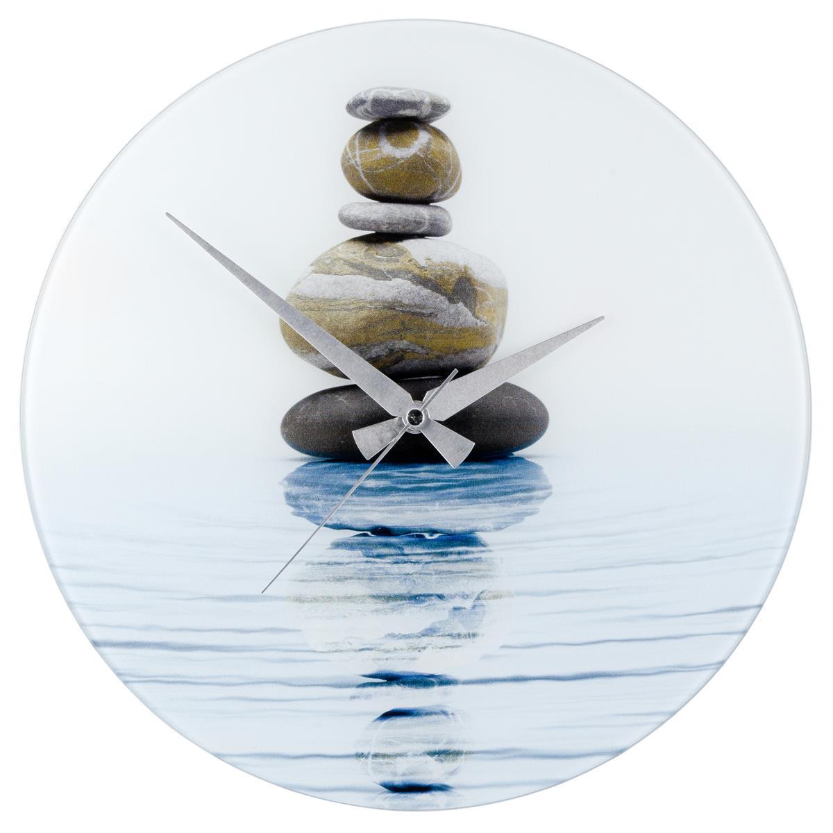 WENKO Wanduhr Meditation Steinbalance gehärtetes Glas, 37 x 3 x 37 cm
