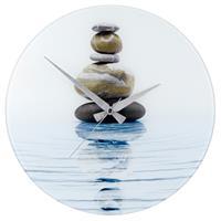WENKO Wanduhr Meditation gehärtetes Glas, 37 x 3 x 37 cm 21358100 Steinhaufen