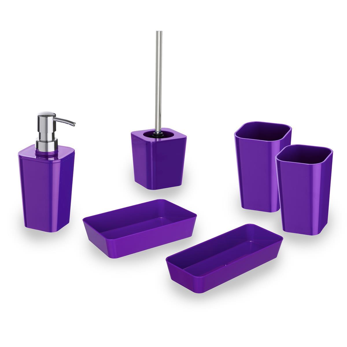 WENKO Badset Candy purple WC Garnitur Zahnputzbecher Seifenspender Ablage
