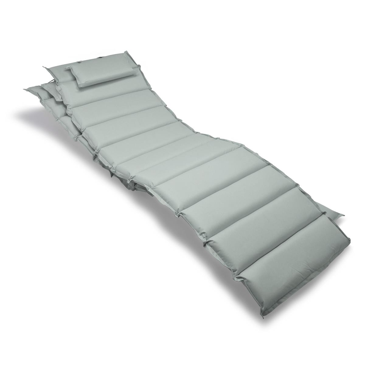 Divero 2x Liegenauflage Polster Kopfkissen für Garten Terrasse gesteppt grau