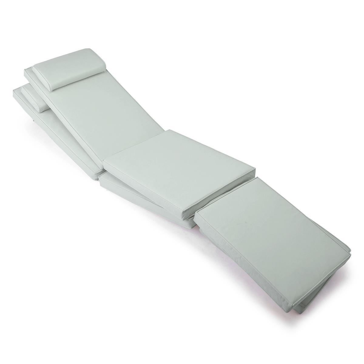 DIVERO 2x Liegenauflage Deckchair Steamer Liegestuhl-Auflage Polster hellgrau