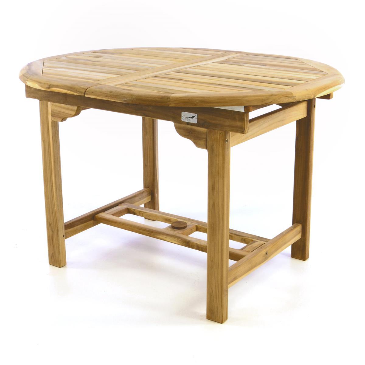 DIVERO Balkontisch Terrasse Tisch Esstisch ausziehbar 30cm Teak