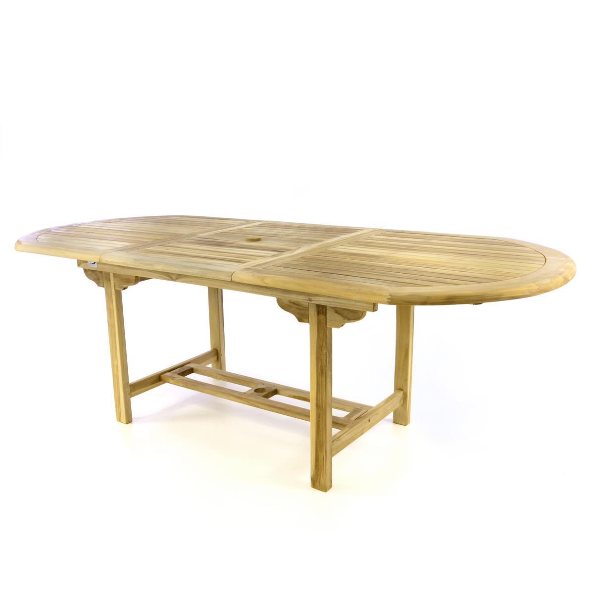 DIVERO Balkontisch Terrasse Tisch Esstisch ausziehbar 230cm Teak Holz natur