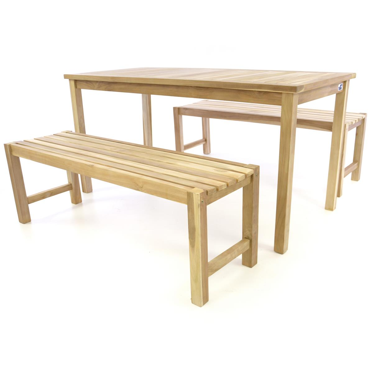 DIVERO Gartenmöbelset Picknickset Sitzgruppe natur Teakholz Bank Tisch 150cm