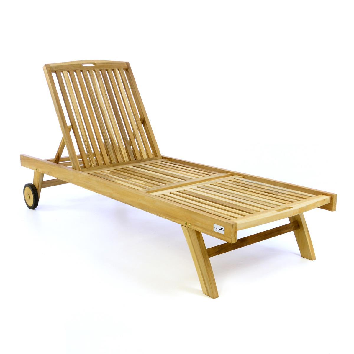DIVERO Sonnenliege Holzliege Gartenliege Liegestuhl mit Rollen Teakholz natur