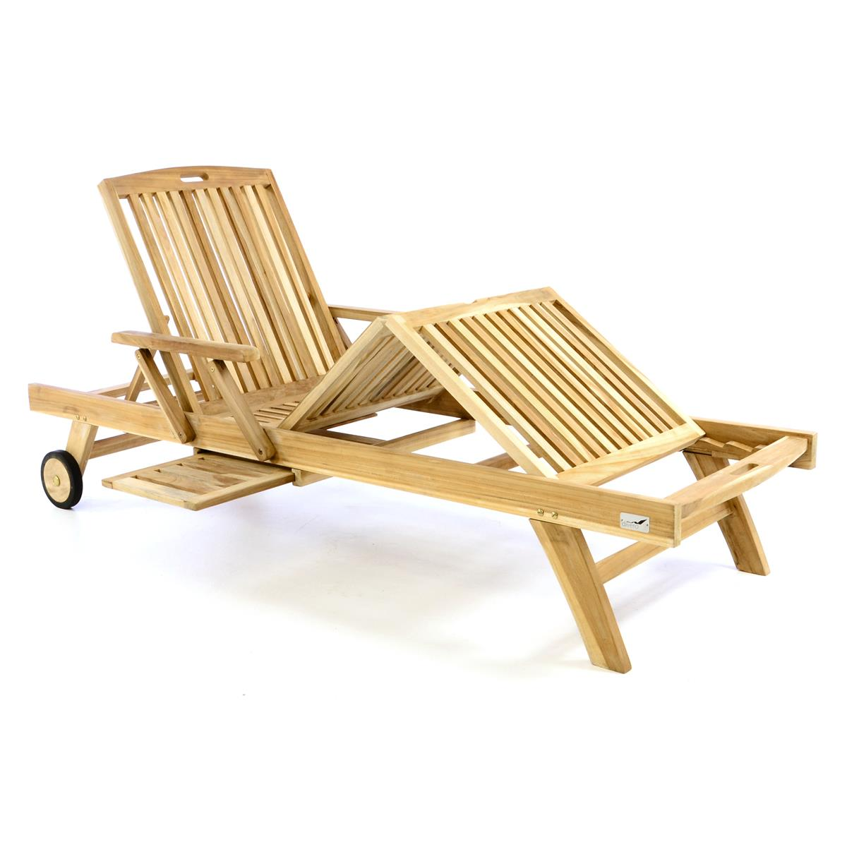 DIVERO Sonnenliege Garten Relax - Liege Teak - Holz inkl. Räder Tablett natur