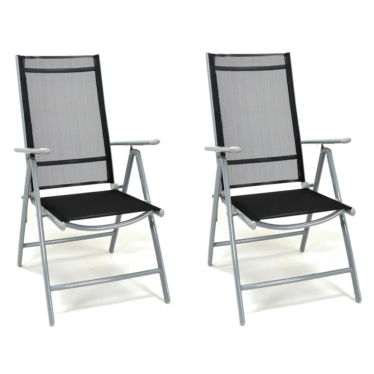 2er Set Klappstuhl schwarz Aluminium Gartenstuhl Balkonstuhl Rahmen silber