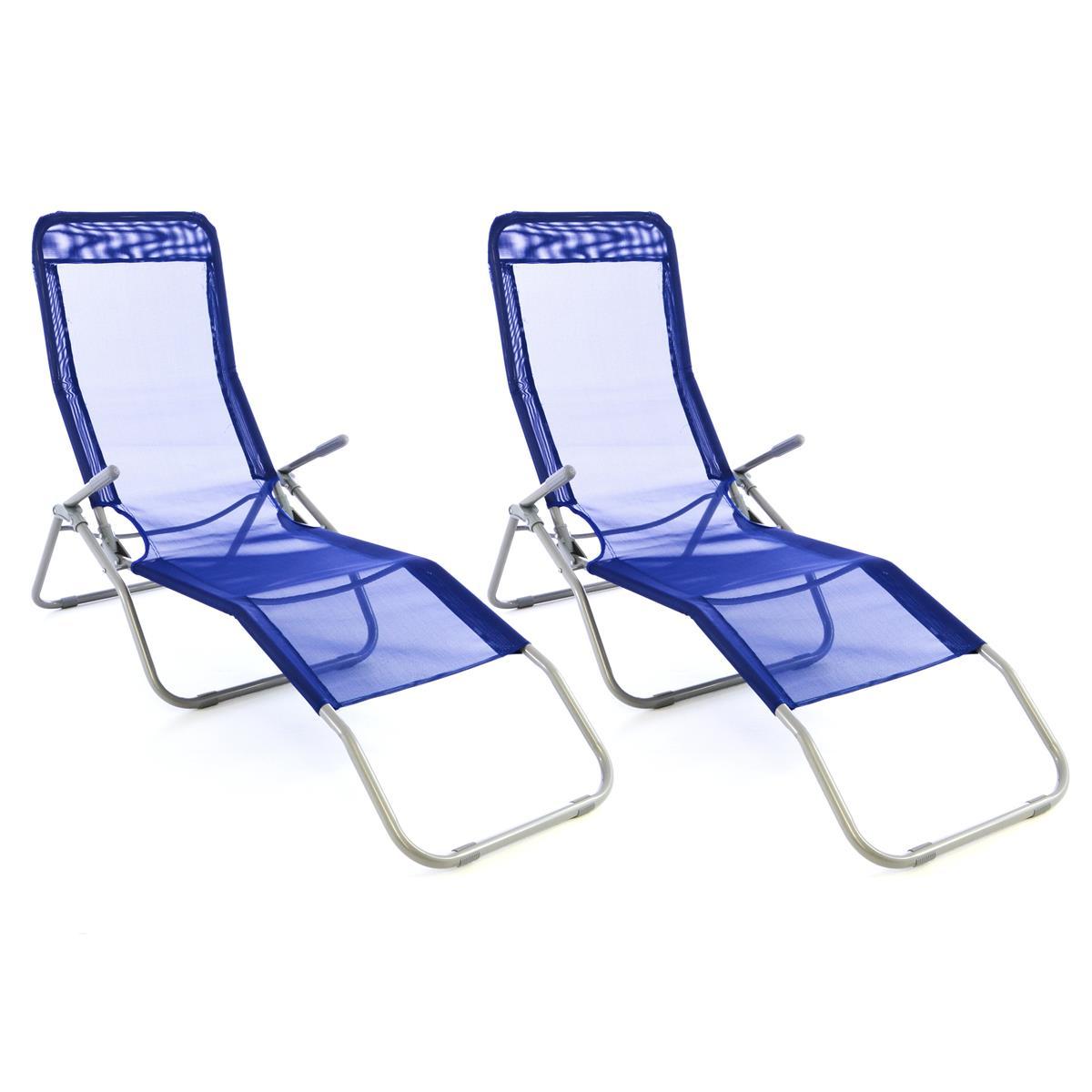 2x Gartenliege Bäderliege 160 cm Textilene blau Armlehne Relaxliege klappbar