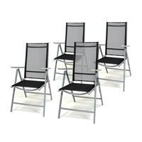 4er Set Klappstuhl schwarz Aluminium Gartenstuhl Rahmen silber verstellbar